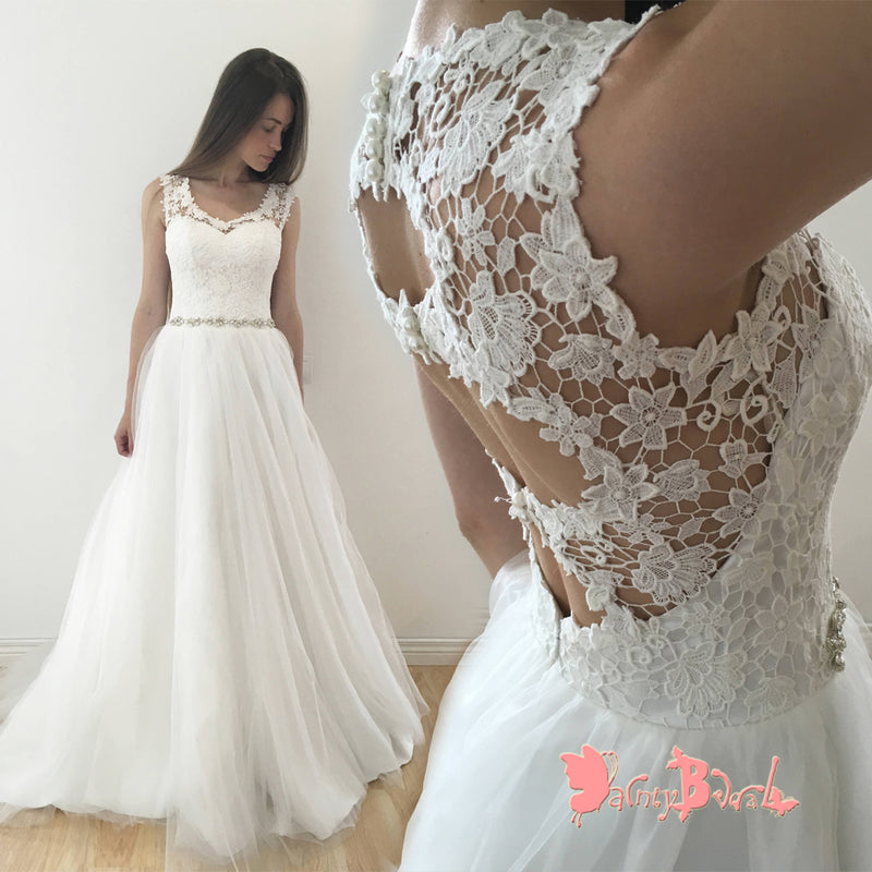 Simple Charming See-through Lace Unique Open Back A-line With Beaded Sash Wedding Dresses,DB0127