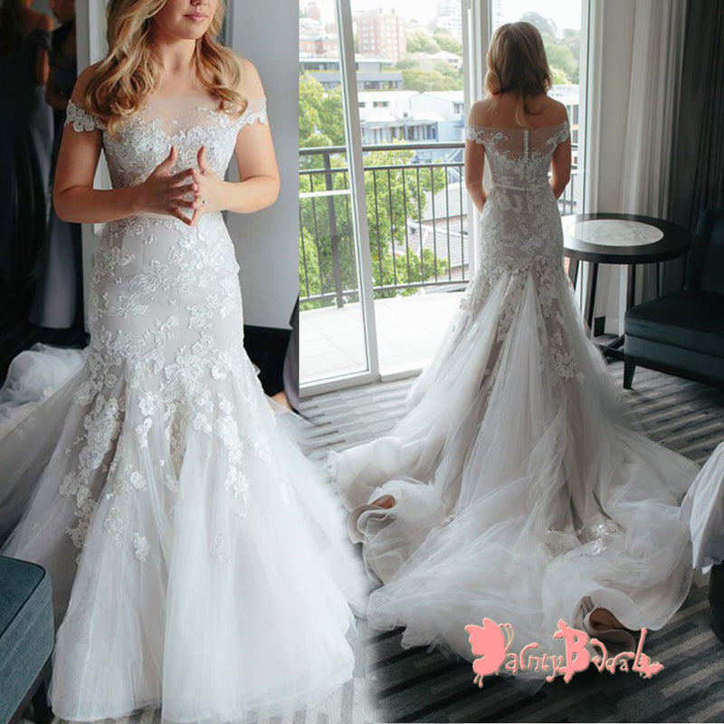 Popular Off The Shoulder Lace Appliques Stunning Mermaid With Train  Wedding Dresses,DB0119