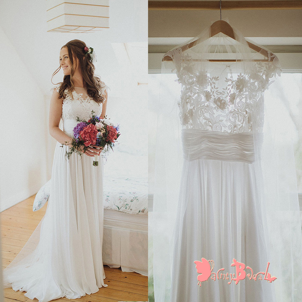 Affordable Simple Round Neck Cap Sleeve See Through Lace Top Chiffon A-line Wedding Dresses,DB0121