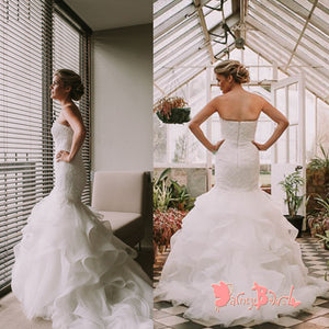 2018 Popular Sweetheart Strapless Lace Top Ruffles Mermaid Formal Wedding Dresses,DB0123