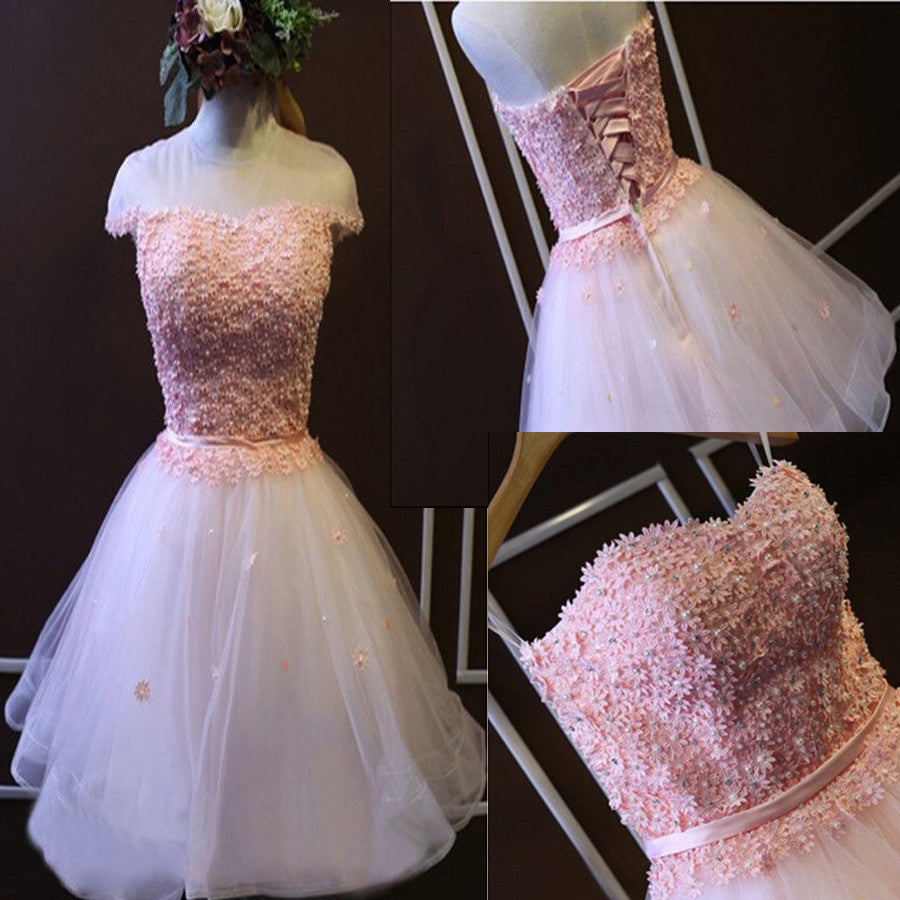 Pink  A-line Strapless Sweetheart  Lace Beads Flower Appliques Lace Up Back Tulle Above Knee Length Homecoming Dress,BD0114