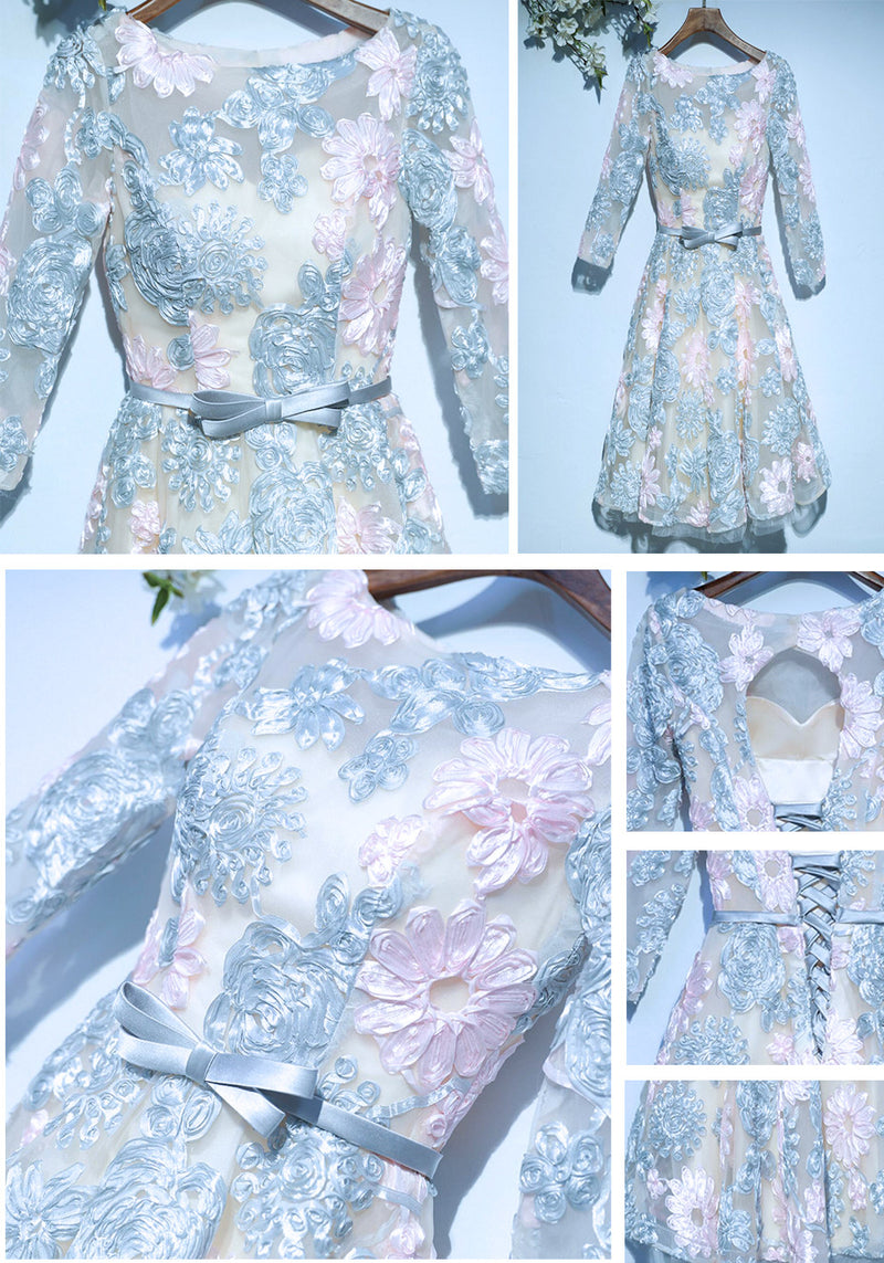Junior Pretty Organza Long Sleeve Floral Prints Lace Up Back Bow Sash Homecoming Dresses, WG31