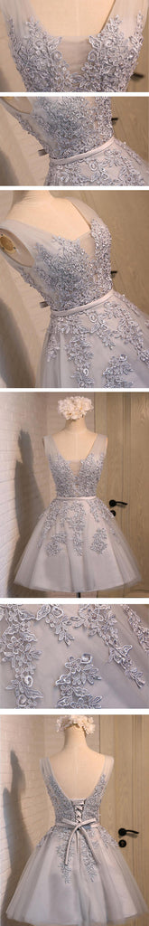 Sexy Short A-line Deep V Neck V-back Sleeveless Lace Up Back Organza Appliques Homecoming Prom Dress,BD0135
