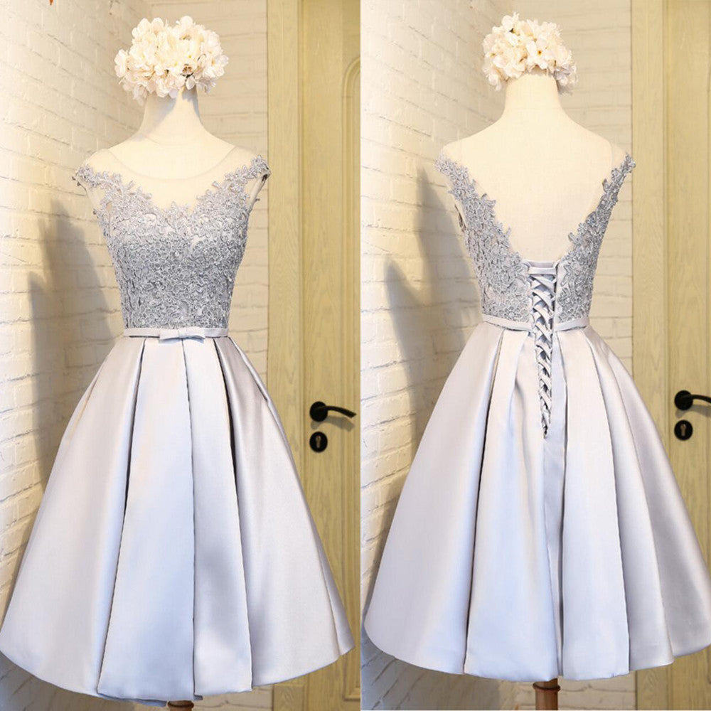 Elegant Sleeveless  Lace Up Back  Appliques Clairvoyant Outfit Satin Skirt Tea Length Homecoming Prom Dress,BD0136