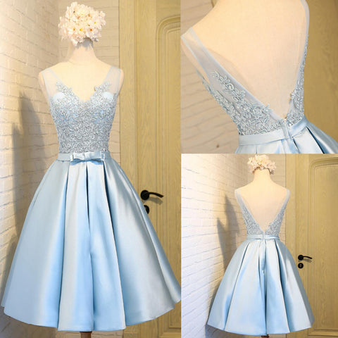 Elegant Sleeveless  Deep V Back  Appliques Clairvoyant Outfit Satin Skirt Tea Length Homecoming Prom Dress,BD0137