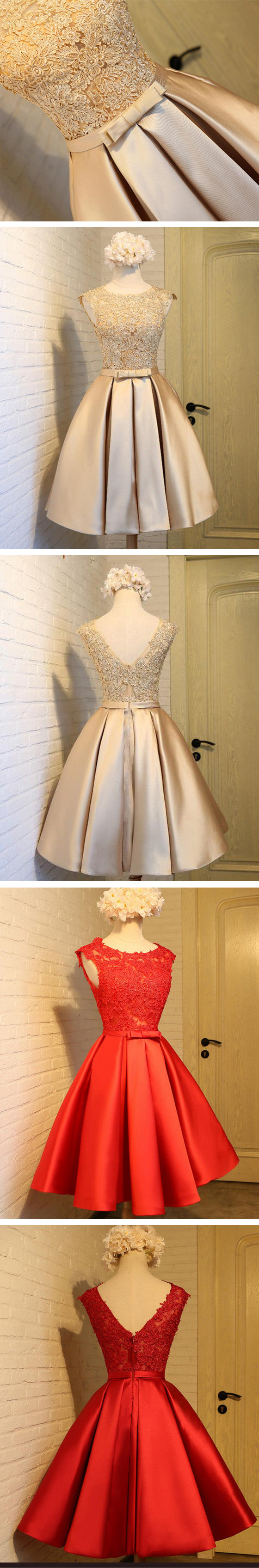 Vintage Sleeveless Appliques Satin Skirt V-back A-line Knee Length  For Teen Homecoming Prom Dress,BD0131