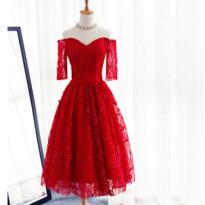 a08f3d48e1f9 Red Three-quarter Sleeve Sweetheart Off Shoulder Tea-Length Lace Up Back Homecoming  Dresses, CM0006