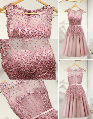 Lovely Junior Round Neckline Sleeveless Lace Appliques Sweetheart Keyhole Back Homecoming Dresses, BD00158