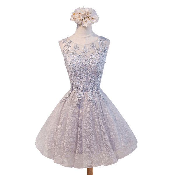 Lovely Vintage Sleeveless Full Floral Prints Appliques  Clairvoyant Outfit Lace Up Back Homecoming Dress,BD0120
