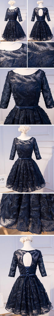 Unique Style Three-quarter Sleeve Full Feather Appliques Keyhole Lace Up Back Tea-Length Homecoming Dress,BD0121