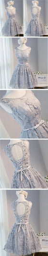 Vintage Light Grey Clairvoyant Outfit Sleeveless Appliques Keyhole Lace Up Back Bow Sash Homecoming Dress,BD0122