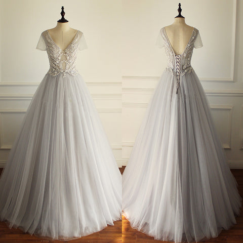 Gorgeous Beading Appliques Unique Gray Tulle A-line Short Sleeve Lace Up Back Wedding Dress,DB093