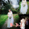 Vintage Ivory Cap Sleeve See-Through Lace Back Elegant Wedding Party Wedding Dresses,DB0103