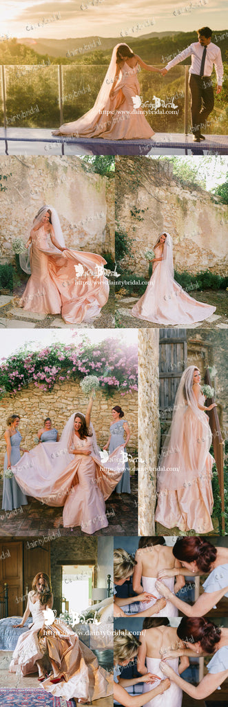 Simple Charming Blush Pink Satin Spaghetti Strap Mermaid  Detachable Skirt Wedding Dresses,DB0107