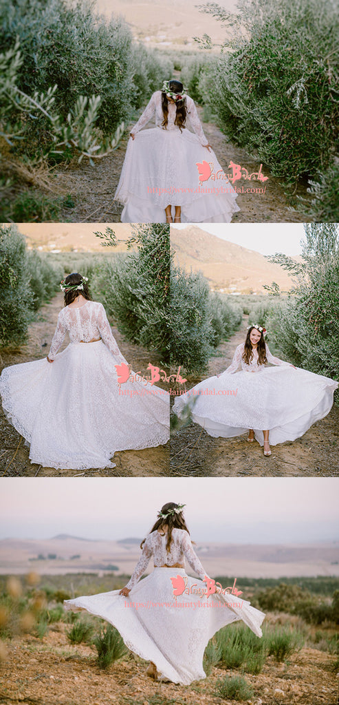 Fashion Country Two Pieces Long Sleeve A-line See-through White  Lace  Wedding Dresses,DB0109