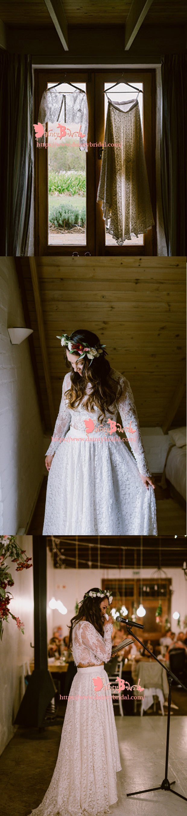 2018 Fashion Country Two Pieces Long Sleeve A-line See-through White  Lace  Wedding Dresses,DB0109
