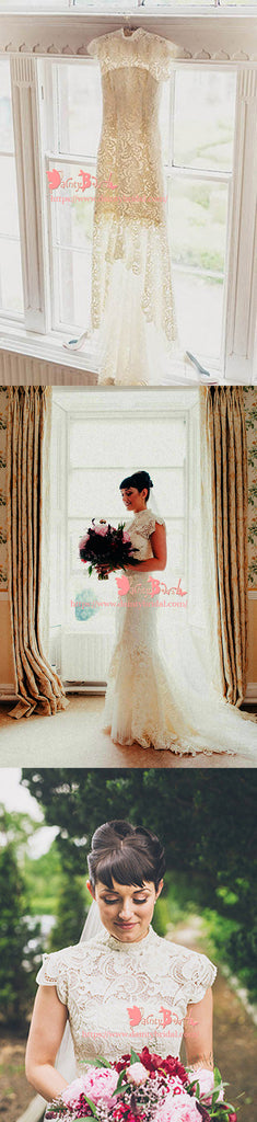 Vintage Elegant High Neckline  Cap Sleeve Ivory Lace Mermaid Chapel Trailing Wedding Dresses,DB0110