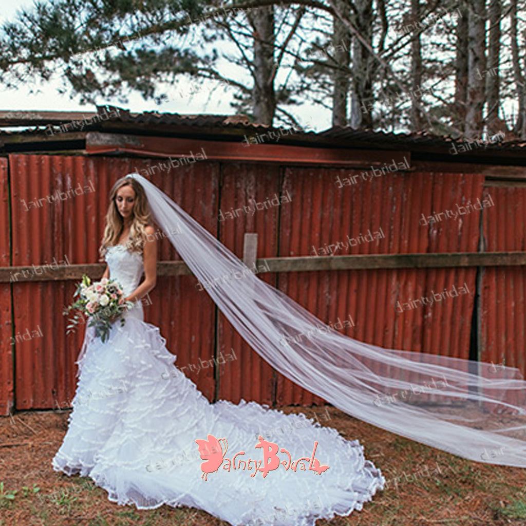 Stunning 2018 Strapless White  Lace Gorgeous Ruffles Tiered Chapel Trailing Wedding Dresses,DB0111