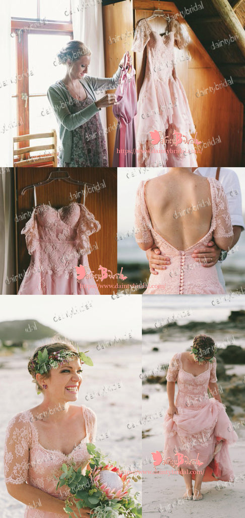Charming Light Pink Lace Half Sleeve Queen Anne Neck Backless With Button Wedding Dresses,DB0112
