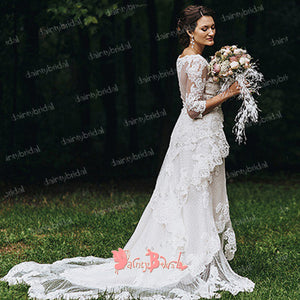 Unique High Low Off White Lace Half Sleeve See-through Back Charming  Wedding Dresses,DB0115