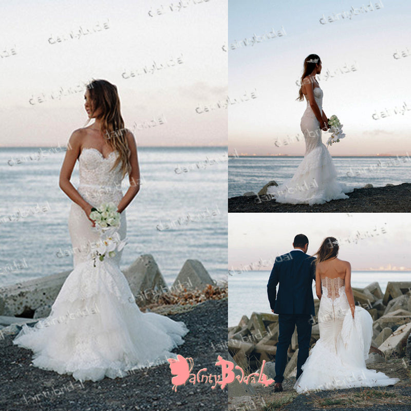 Newest Sexy Elegant  Lace Sweetheart Strapless See-through Back Mermaid Wedding Dresses,DB0116