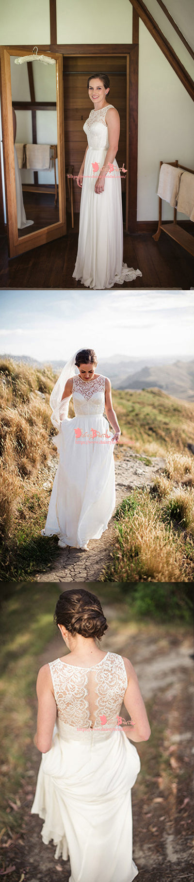 Popular Simple Round Neck Sleeveless Open Back Lace Top Chiffon A-line Wedding Dresses,DB0117