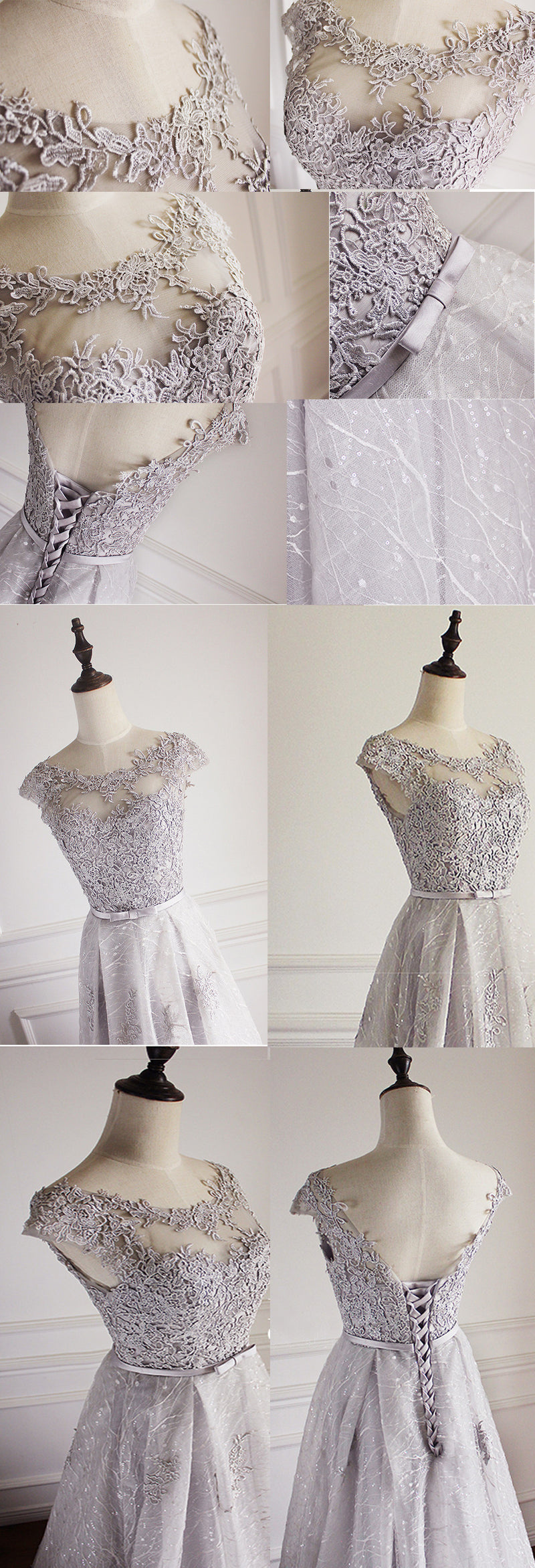 Elegant Light Grey Cap Sleeve Lac Prints Organza Appliques  A-line Lace Up Back Floor Length Bridesmaid Dresses, WG52