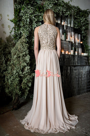 Elegant Gold Beaded Appliques Chiffon Sleeveless Jewel Neck A-line Long Prom Gown Dresses. DB1059