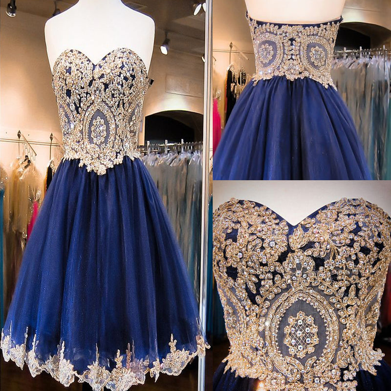 Short  Sweetheart Sleeveless Lace Rhinestone Beads Royal Blue Appliques Open Back Chiffon  Homecoming Dress,BD0115