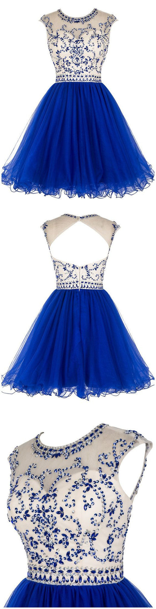 Sexy Cap Sleeve Round Neck Sequins Appliques Open Keyhole Back Royal Blue Homecoming Prom Dresses, CM0008