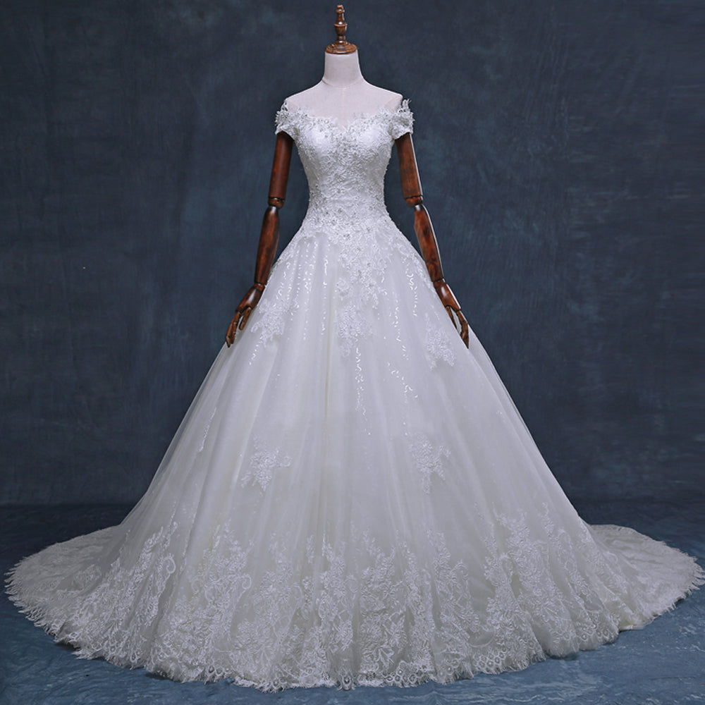 4415471166f Gorgeous Off Shoulder Short Sleeve Lace Appliques Beading Sparkly Ball Gown  Cathedral Train Wedding Dress