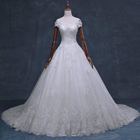 Gorgeous Off Shoulder Short Sleeve Lace Appliques Beading Sparkly Ball Gown Cathedral Train Wedding Dress,DB091
