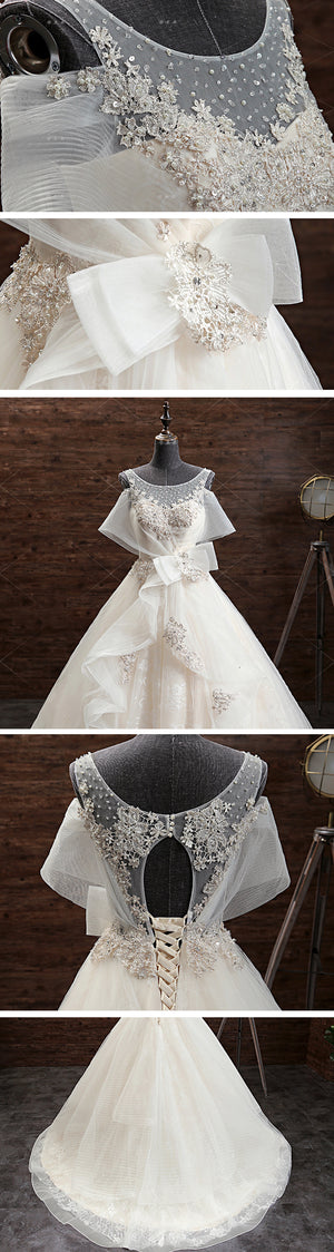 Gorgeous Princess Lace Appliques Beading Yarn Back Unique Sleeve Pretty Bow Ruffles Ball Gown Wedding Dress,DB089