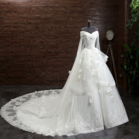 Gorgeous Princess Lace Appliques Beading Off Shoulder Ruffles Ball Gown Detachable Watteau Train Wedding Dress,DB090