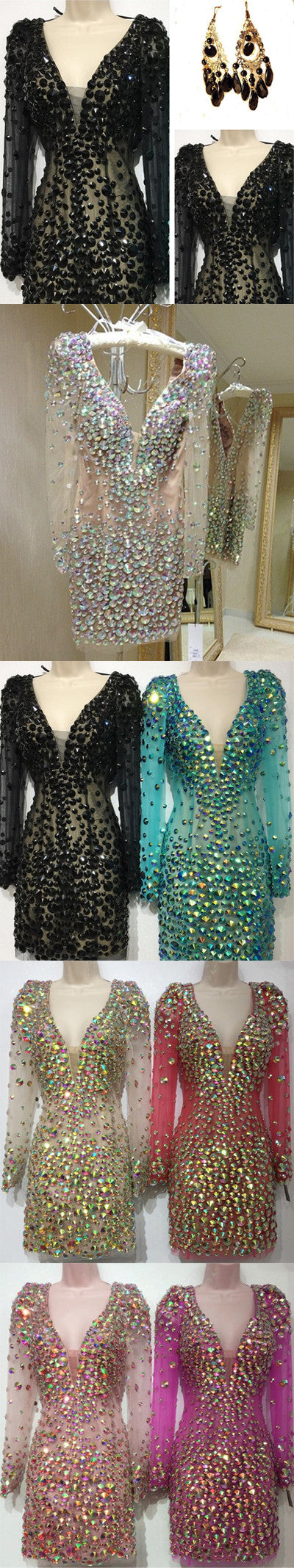 Sexy Clairvoyant Outfit Rhinestone Deep V-neck Deep V-back Long Illusion Sleeve Sheath Homecoming Dress,BD0108