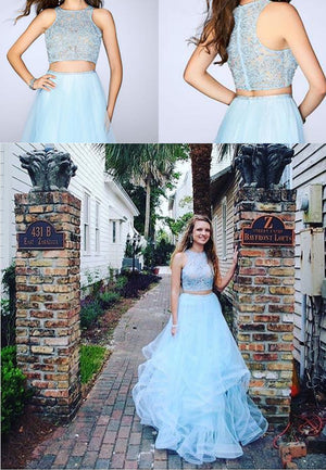 Fashion Two Pieces Blue Lace Round Neck Sleeveless Ruffles A-line For Teens Prom Gown Dresses. DB1031