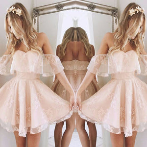 Lovely Cute Light Pink A-line Chiffon Off-shoulder Sweetheart Lace Open Back  Mini  Homecoming Dress,BD0111