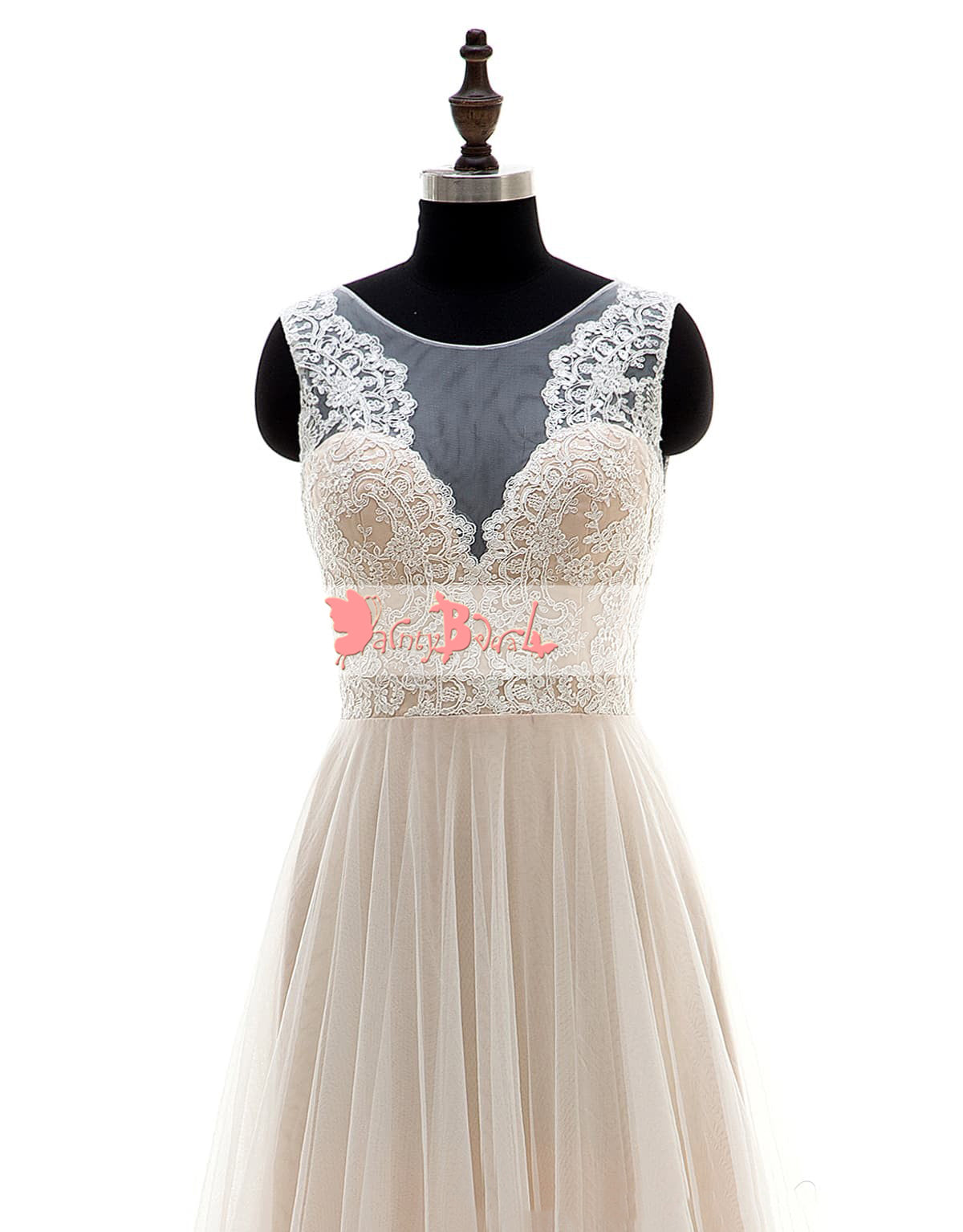 Simple Cheap Light Nude Lace Top A-line Wedding Dresses,DB0130 ...