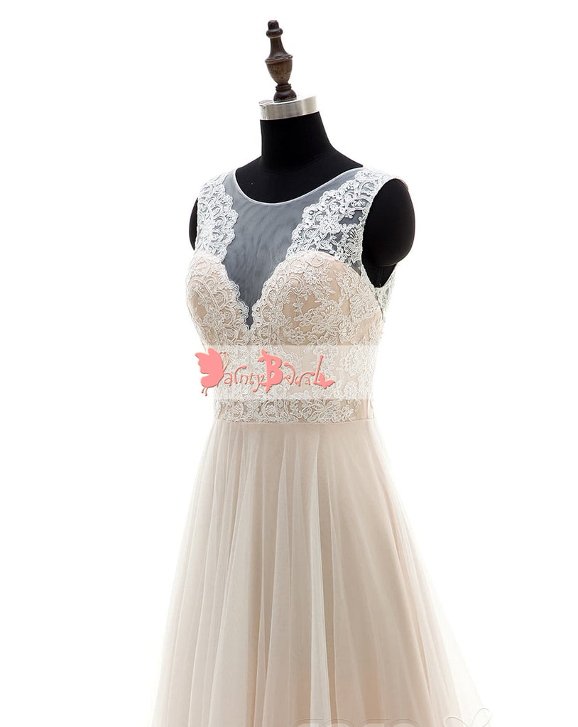 Simple Cheap Light Nude Lace Top A-line Wedding Dresses,DB0130