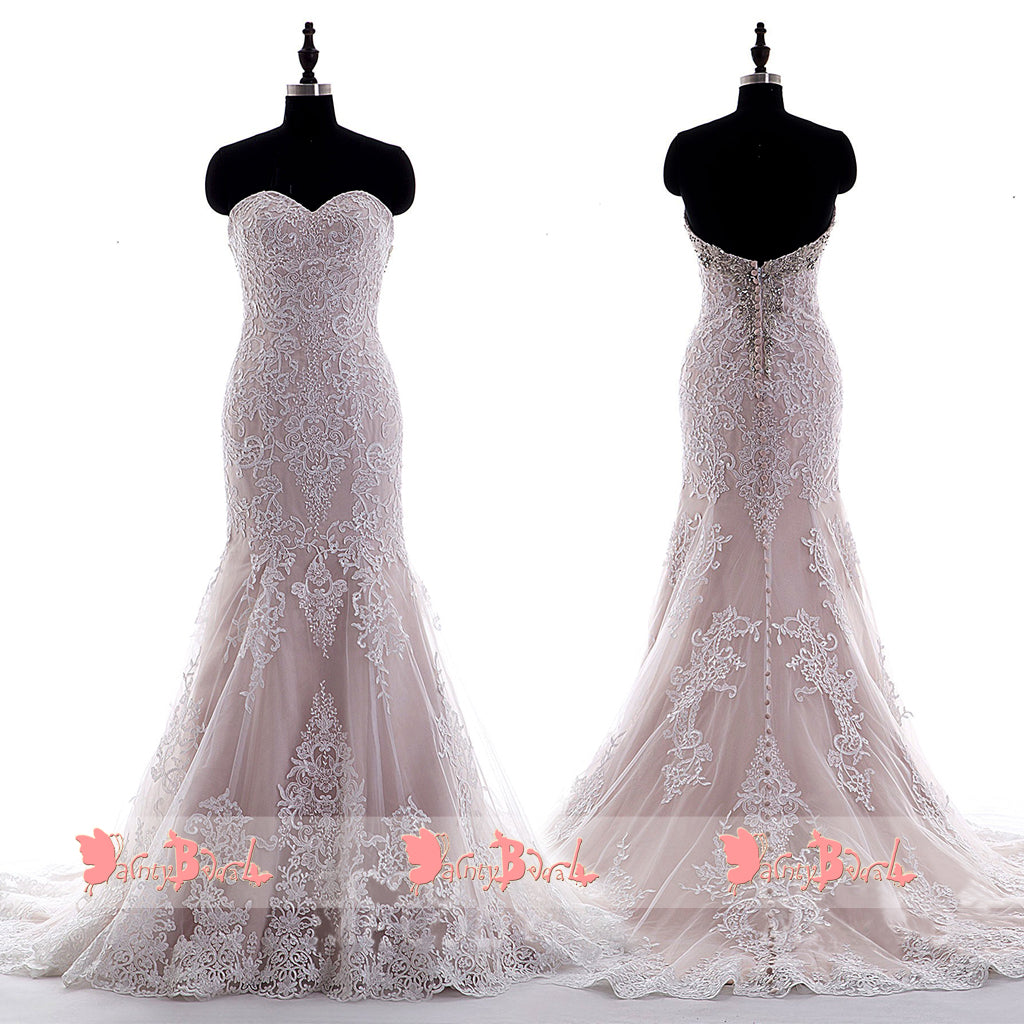 Sweetheart Strapless Nude Lining Ivory Lace Mermaid Wedding Dresses,DB0128