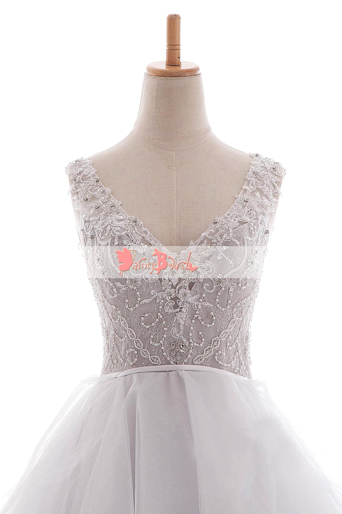 White Beaded Lace Top Ruffles Ball Gown Princess Wedding Dresses ...