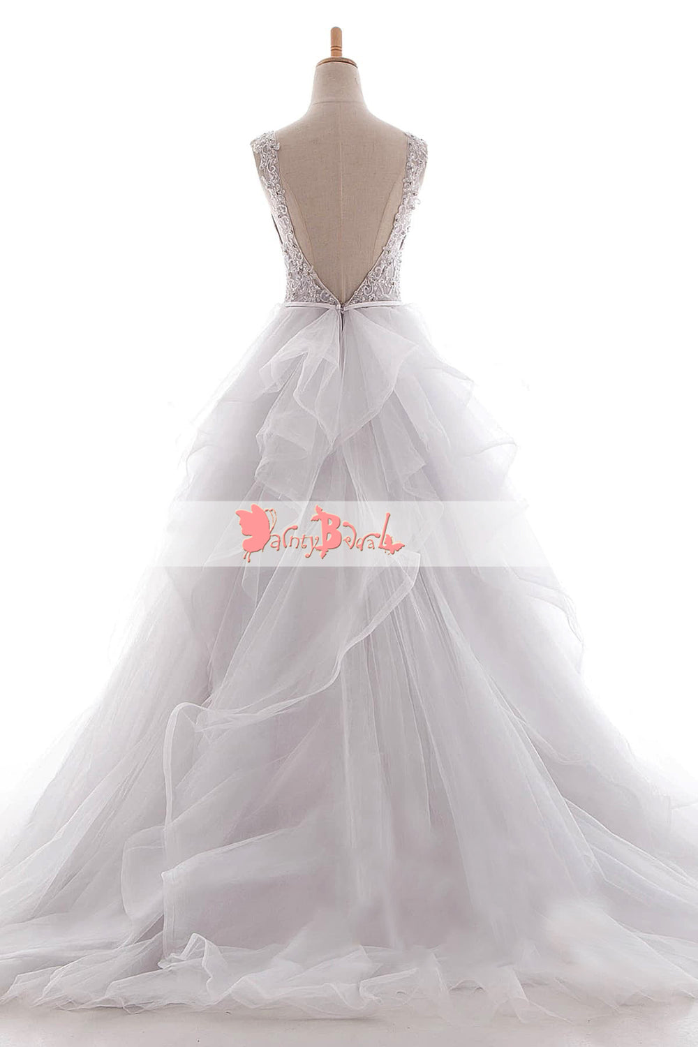 97ef9a9d5c7 White Beaded Lace Top Ruffles Ball Gown Princess Wedding Dresses