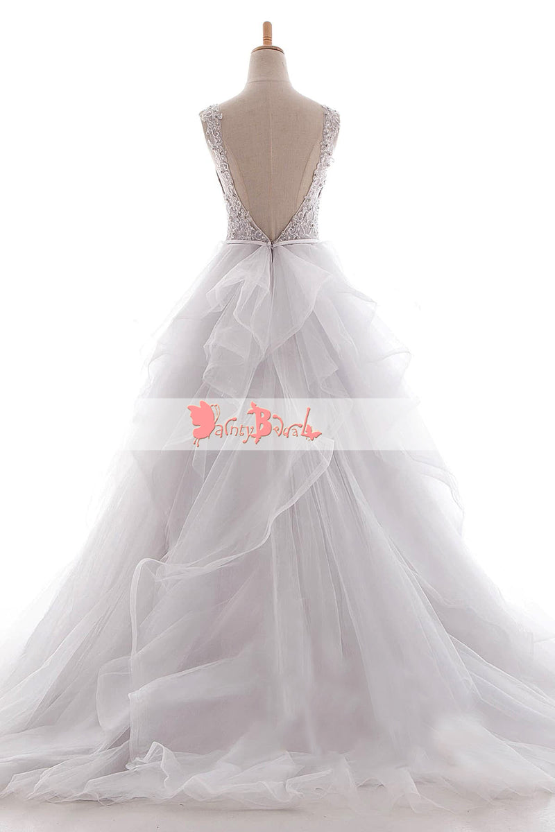 White Beaded Lace Top Ruffles Ball Gown Princess Wedding Dresses,DB0129