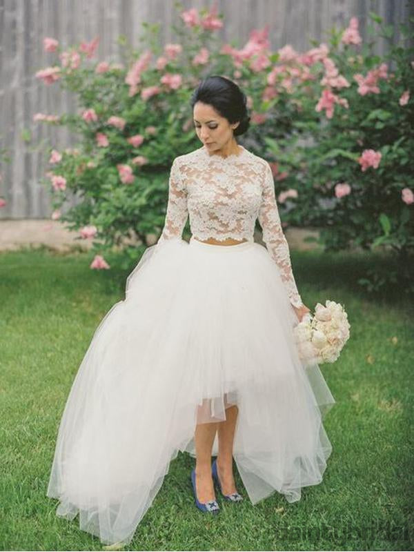 Pretty Bateau Long Sleeves Wedding Dresses,Two-Piece Lace Tulle High-Low Wedding Dressed.DB10071