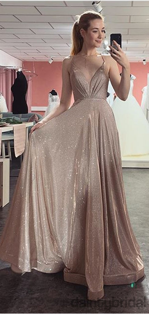 Affordable V-Neck Floor-Length Sequin A-Line LongProm Dresses.DB10074