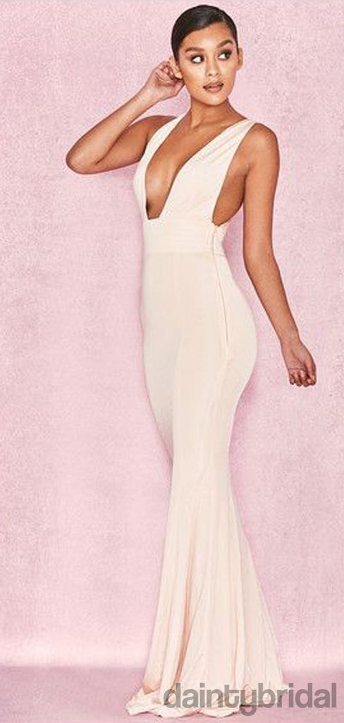 Mermaid Satin Sleeveless V-Neck Open Back Long Prom Dresses.DB10070