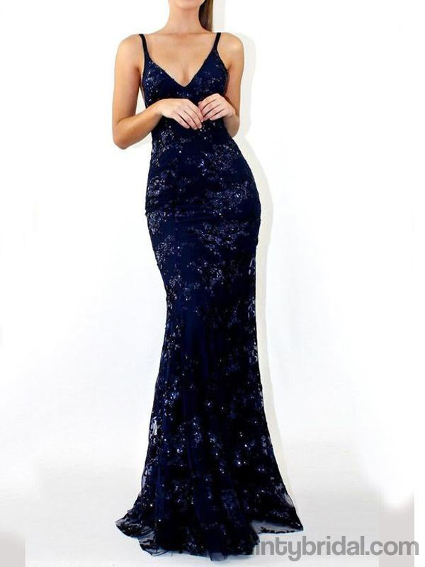 Mermaid Deep V Neck Lace Appliques Backless Spaghetti Straps Prom Dresses.DB10038