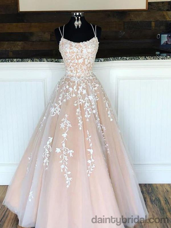 Gorgeous Double Straps Tulle Prom Dresses, Ball Gown.DB10039