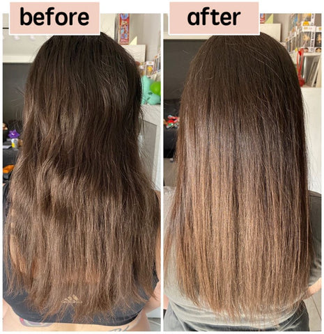 before and after photos using the georgieman's hydrating hair mask