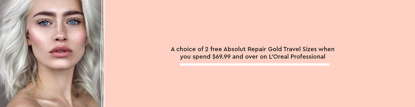 A choice of 2 free Absolut Repair Gold Travel Sizes when you spend $69.99 and over on L'Oreal Professional